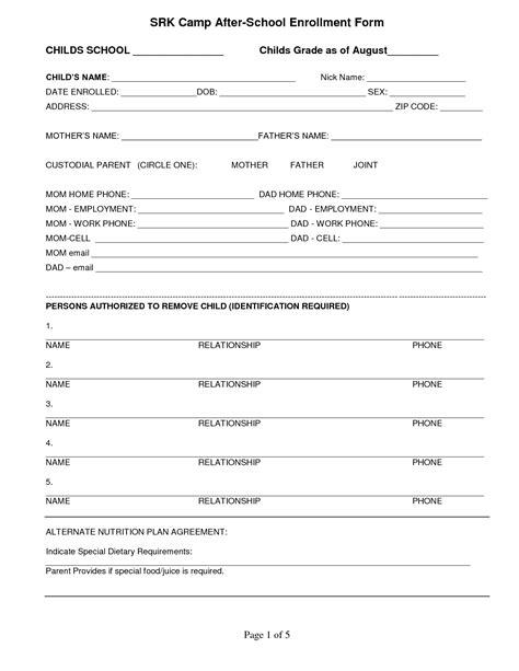 enrollment application template best photos of school enrollment application template
