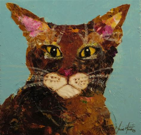 Cat Acrylic Maries abyssinian cat stare acrylic painting