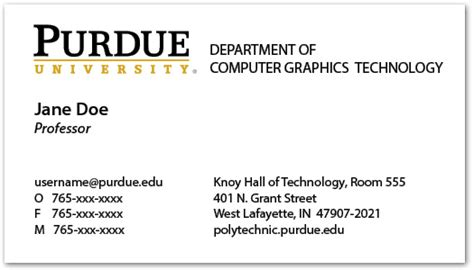purdue business card template business cards and name badges purdue polytechnic institute