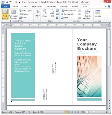 Free Business Tri Fold Brochure Template For Word Microsoft Word Brochure Templates