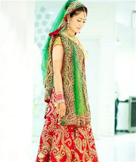 green combination red and green combination bridal lehenga indian wedding