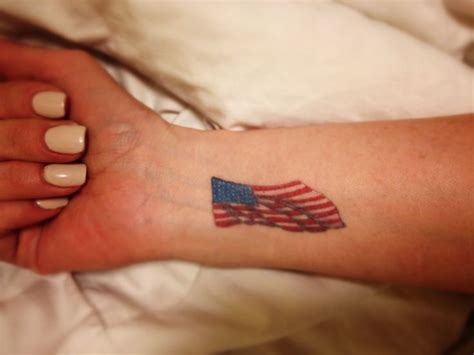 american flag wrist tattoo