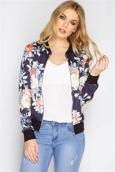 Flowries Bomber Jaket black floral bomber jacket at misspap co uk