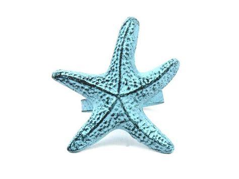 Blue Starfish Decor by Buy Blue Whitewashed Cast Iron Starfish Napkin Ring 3
