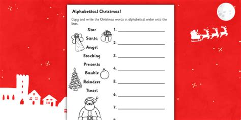 christmas words that start with n words in alphabetical order worksheet