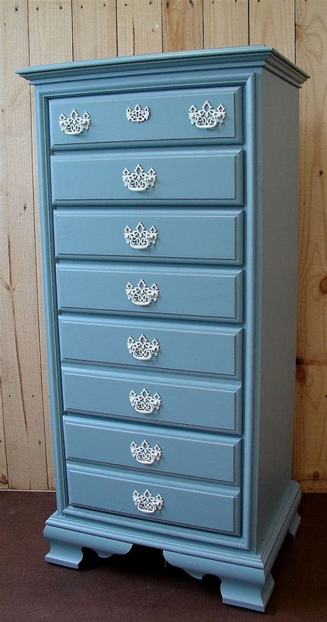 blue chalk painted dresser upcycled blue chalk paint lingerie highboy chest dresser w