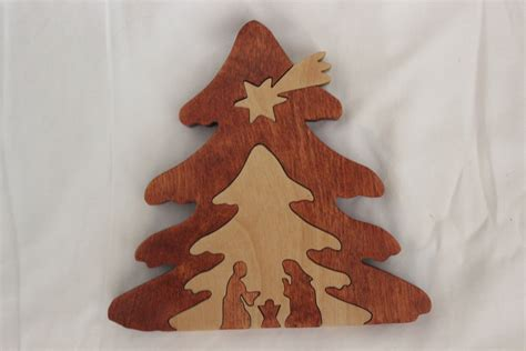 hand made wood nativity christmas tree puzzle by jjelswoodwork