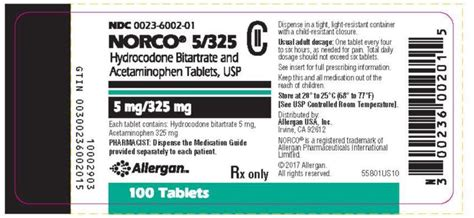 What Otc Medicine To Use During Norco Detox Withdrawal by Norco Allergan Inc Fda Package Insert