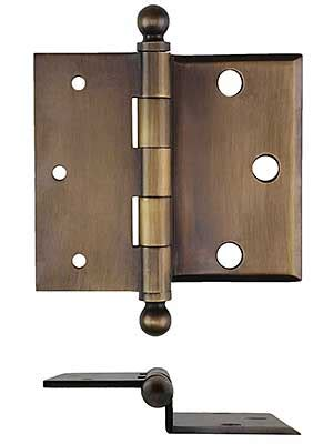 """3 1/2"""" Brass Half Mortise Door Hinge with Beveled Surface"""