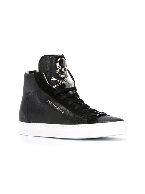 hi top shoes for philipp plein hi top sneakers in black for lyst