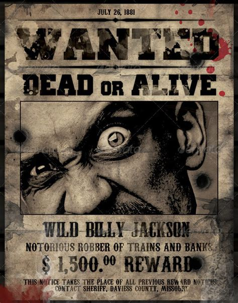 20 Free Wanted Poster Templates To Download Sle Templates Wanted Poster Psd
