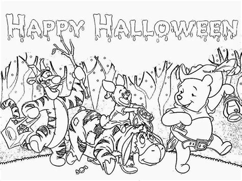 free winnie the pooh happy halloween coloring pages