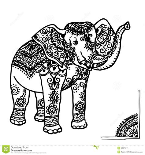elephant and mehendi ornament stock illustration image
