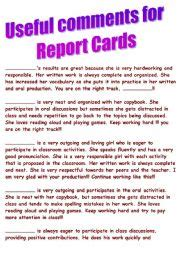 sle of comments for students report card teaching worksheets school