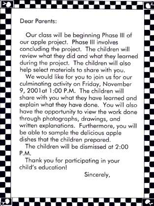 Parent Letter Explaining Class ecrp vol 4 no 2 the apple project