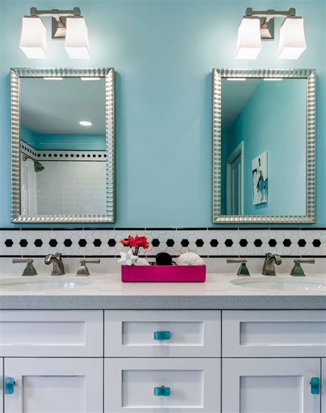 tween bathroom ideas turquoise bathroom interior design with hexagonal black white tiles accent home improvement