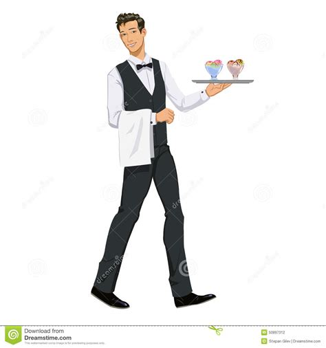Kitchen Design Contest Waiter With Ice Cream Stock Vector Image 50897312
