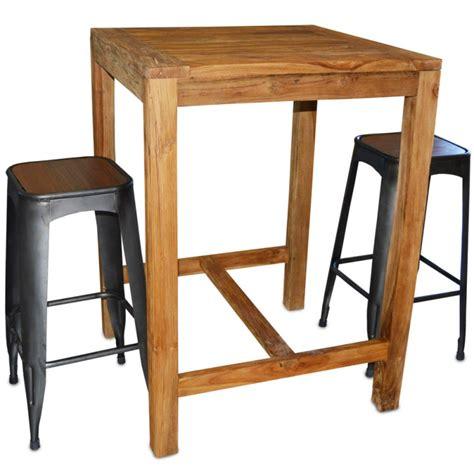 table haute en teck massif 80x80 cm tec3080