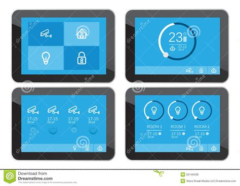 home security app interface on tablet screen stock vector