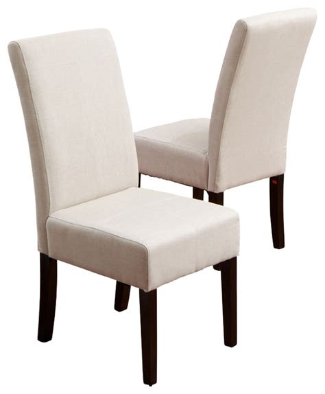 emilia fabric dining chair set of 2 ivory