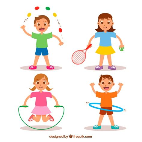 imagenes niños haciendo ejercicio cuatro ni 241 os haciendo deporte descargar vectores gratis