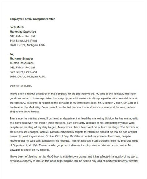 Formal Letter Template Complaint Formal And Informal Letters