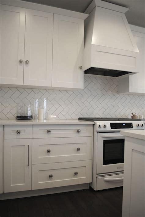 herringbone subway tiles transitional kitchen