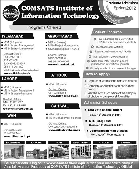 Comsats Mba by Comsats Graduate Masters Admissions 2012 Lahorimela