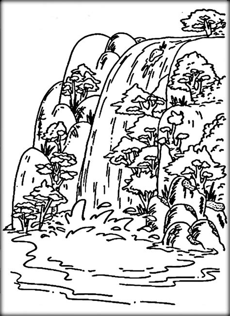 coloring page waterfall waterfalls coloring pages www pixshark com images