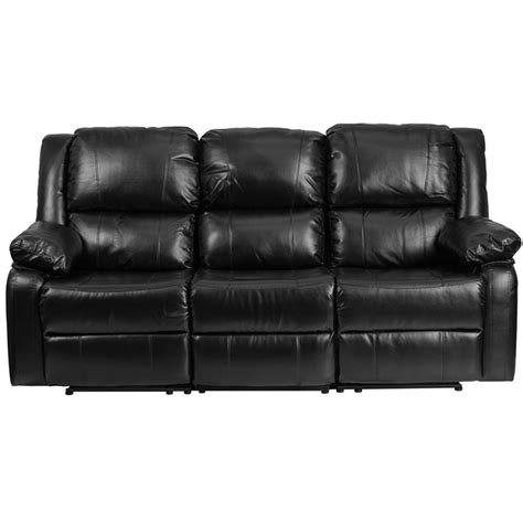 flash furniture harmony series black leather sofa with two