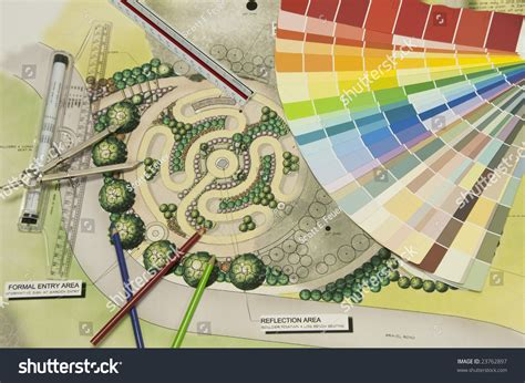 Landscape Architect Tools Labyrinth Landscape Design With A Color Wheel And Drafting
