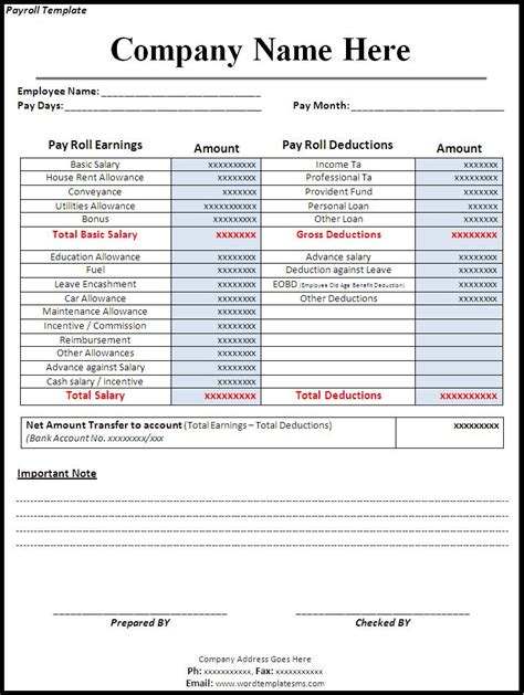 payroll template canada templates instathreds co