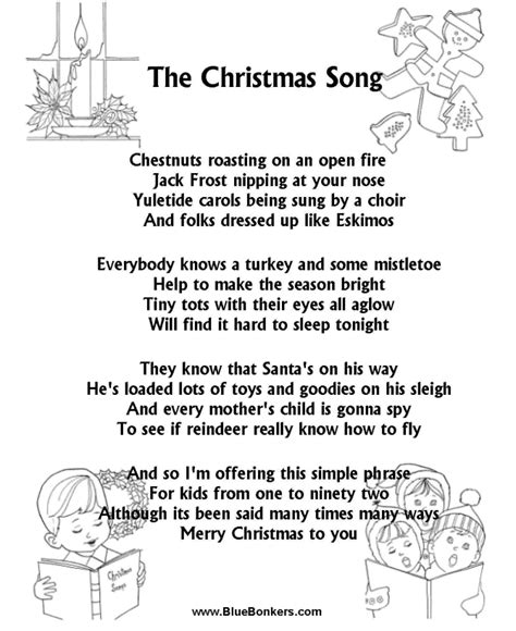 printable christmas carol song lyrics bluebonkers the song free printable carol lyrics sheets chestnuts roasting