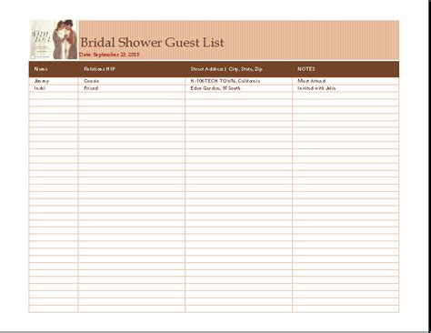 bridal shower guest list template search results for printable vacation template 2015