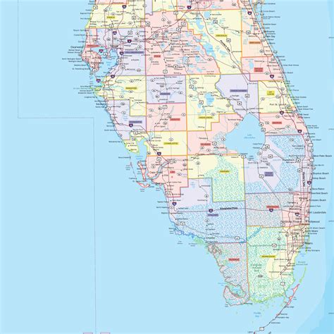 county map of florida florida county wall map maps