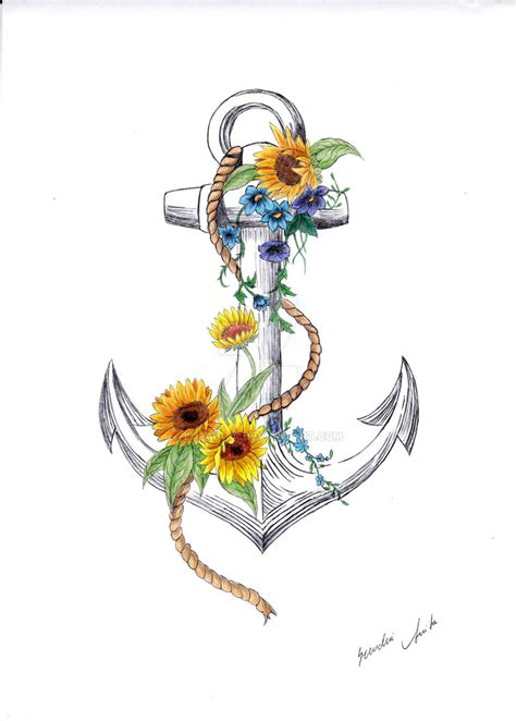 L Cm0023 Anchor And Flowers anchor and sunflower by lupanita on deviantart