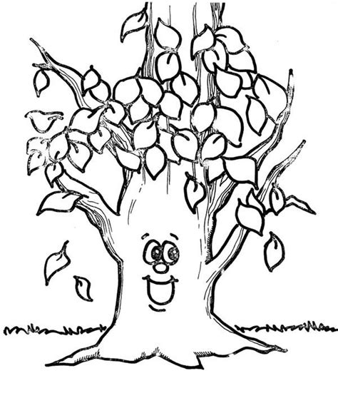 trees without leaves coloring pages fall leaf happy tree happy tree autumn leaf coloring page download print
