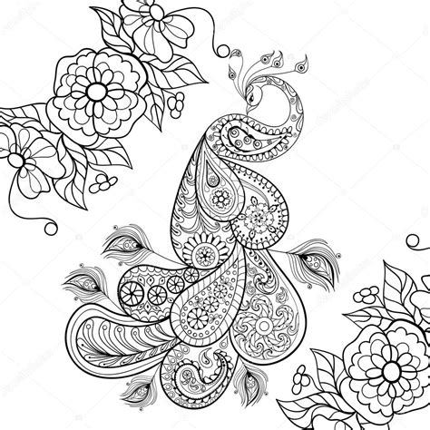 coloring pages for adults vector zentangle peacock totem in flowersfor adult anti stress