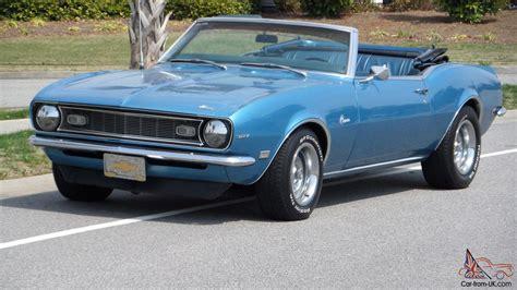 1968 blue camaro 1968 chevrolet camaro convertible automatic 327 marina