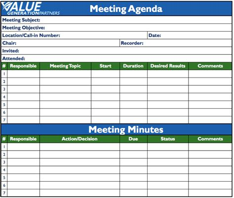 toolbox meeting minutes template transformation page 7 value generation partners vblog