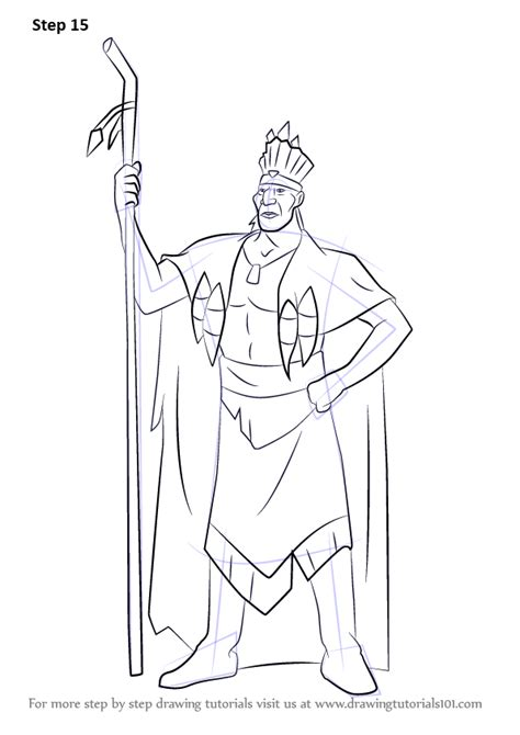 coloring book tutorial step by step how to draw chief powhatan from pocahontas