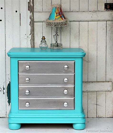 silver spray paint and turquoise are the pair