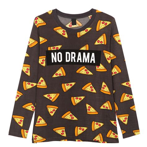 Tshirt No Drama April Merch pizza letters print t shirt cake no drama sleeve tees fashion streetwear shirts