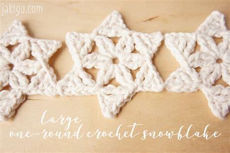 free crochet pattern large one round snowflake jakigu