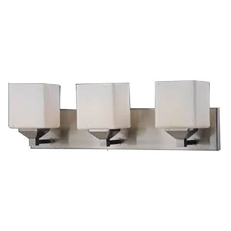 vanity light homeselects 3 light brushed nickel vanity light with opal