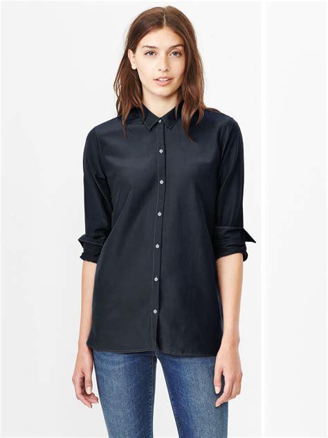 gap silk cotton shirt in blue true navy lyst