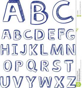 hand drawing alphabet vector for design royalty free