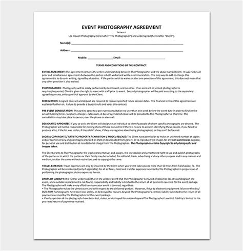 Event Contract Template 19 Sles Exles In Word Pdf Format Contract For Photography Services Template