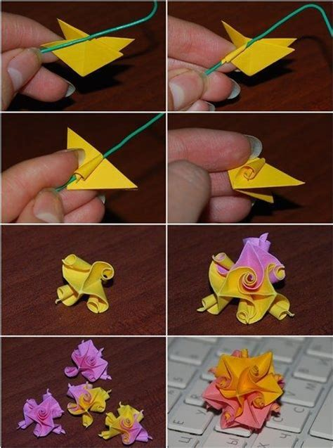 Step By Step Flower Origami - kusudama curl flower folding origami