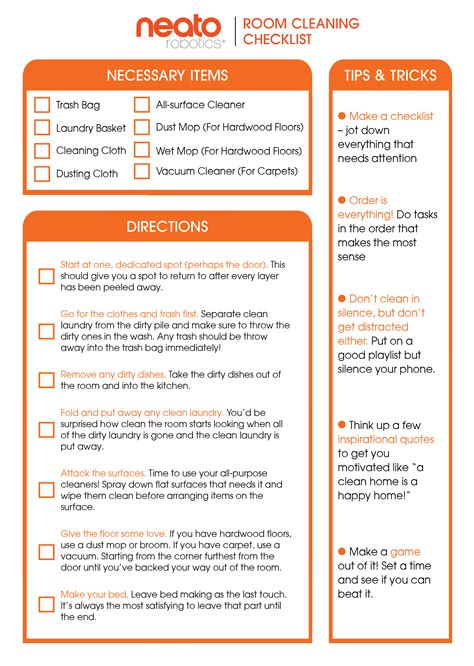 Clean Room Checklist by The Ultimate Guide To Cleaning Your Room Neato